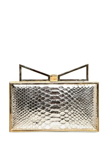 Sara Battaglia - Lady Me Python Embossed Leather Clutch