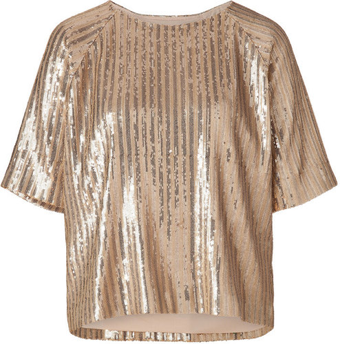 Paul & Joe Beige/Gold Sequined Dorlote Top
