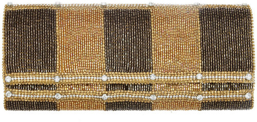 DEEPA GURNANI Beaded Vertical Stripe Flap Clutch