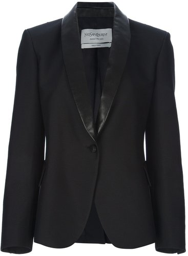 Yves Saint Laurent leather lapel blazer