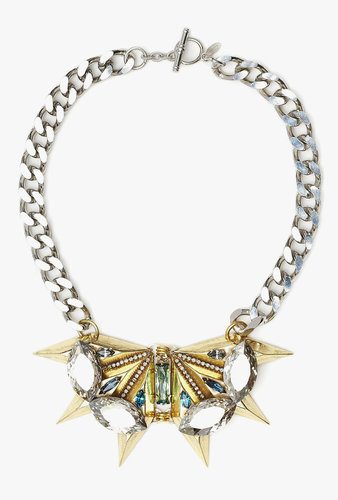 Anton Heunis Gold Spike And Crystal Chain Necklace