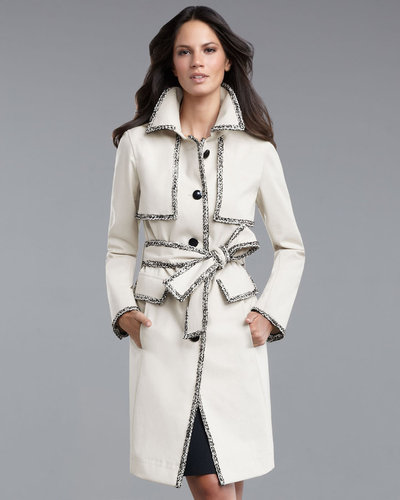 St. John Collection Tweed-Trim Trench Coat
