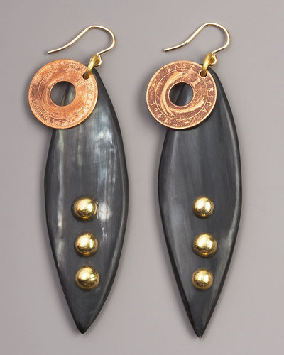 Ashley Pittman Majani Coin & Horn Earrings