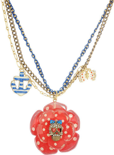 Betsey Johnson Necklace, Polka Dot Flower and Skull Pendant
