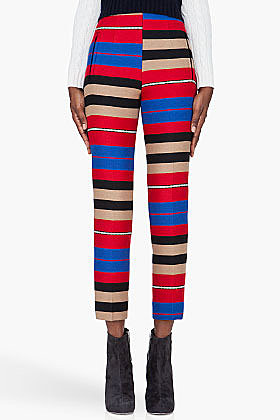 CARVEN Red Striped slim Pants
