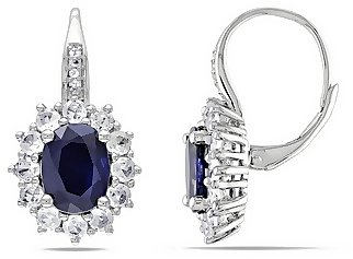 8 1/10 Carat Created Blue and White Sapphire & Diamond Sterling Silver Earrings.