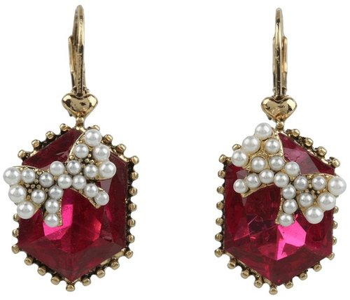 Betsey Johnson - Fabulous Fuchsia Crystal Gem Bowdrops (Fuchsia) - Jewelry