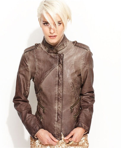 Steve Madden Jacket, Faux-Leather Seamed Military