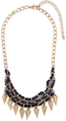 Suede Spike Bib Necklace