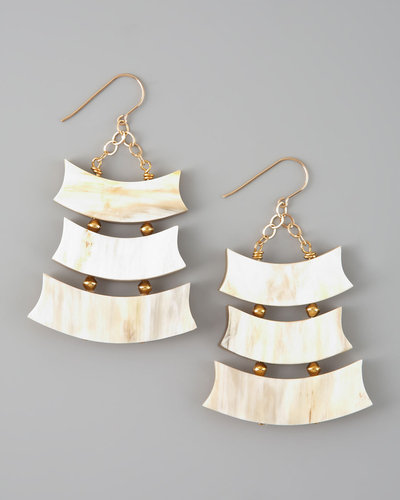 Nest Triple-Row Light Horn Earrings