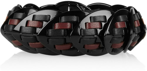 Giles & Brother Nara Armor leather-woven lacquered bracelet