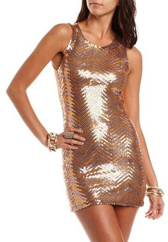 Chevron Sequin Body-Con Dress