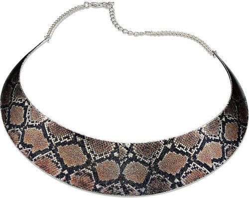 Style&co. Necklace, Silver Tone Snakeskin Collar Necklace