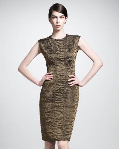 Lanvin Round-Neck Brocade Dress