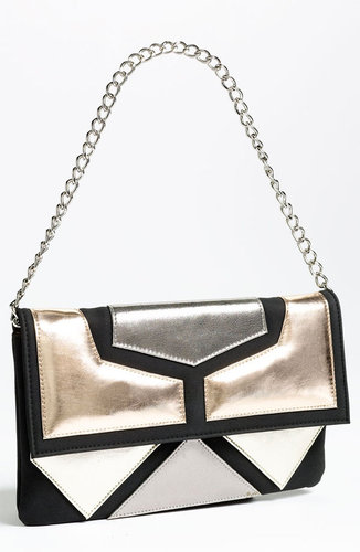 SR Squared by Sondra Roberts Blocked Metallic Clutch