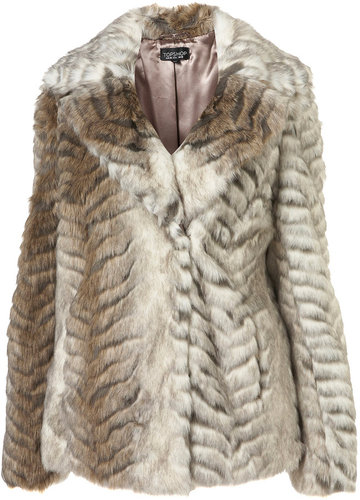 Chevron Pelted Short Coat