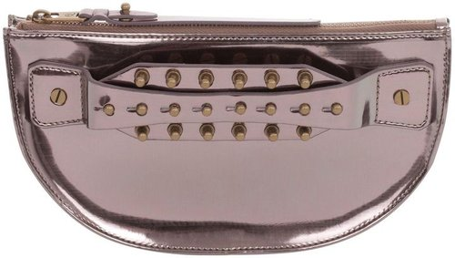Silver Metallic Collar Stud Clutch