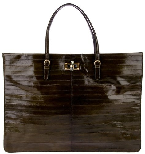 Lanvin eel skin shopper tote