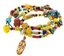 Punch & Judy Long African Bead Chain with Wooden Feather
