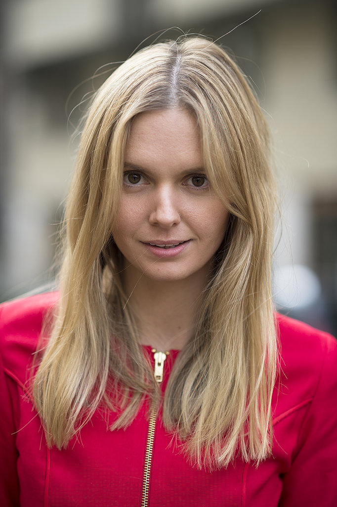 Neutral makeup and a center part looked just darling on Jessica Stein. Source: Le 21ème | Adam Katz Sinding