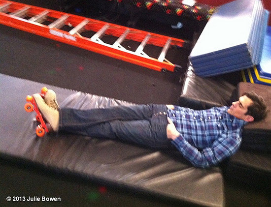 Ty Burrell took a nap in his skates on the set of Modern Family. Source: Julie Bowen on WhoSay