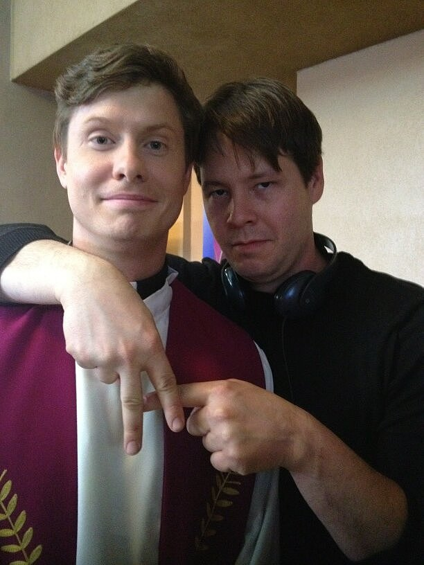 Ike Barinholtz posed with Workaholics' Anders Holm, an upcoming guest star on The Mindy Project. Source: Twitter user mindykaling