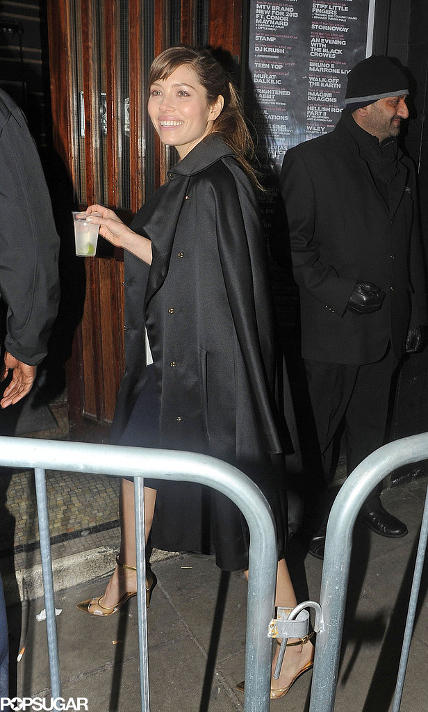 Jessica Biel carried a drink as she walked outside The Forum, where Justin Timberlake was performing.