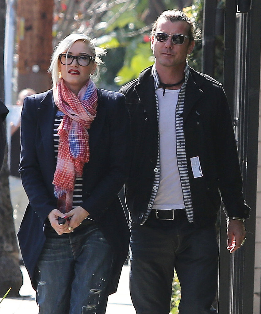 Gwen Stefani and Gavin Rossdale Sport Stripes on a Stroll