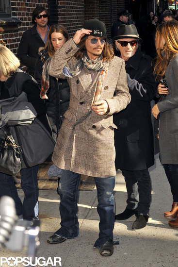 Johnny Depp made a stop at Late Show With David Letterman in NYC.