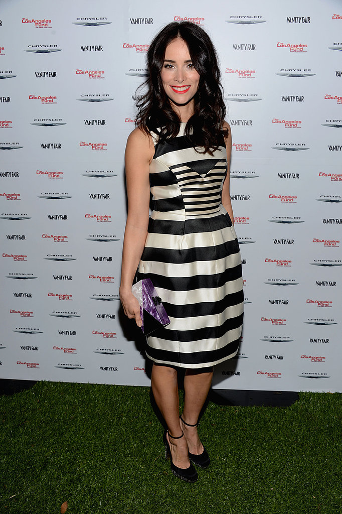 Abigail Spencer wore stripes to the Les Misérables party.