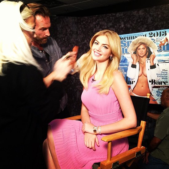 Kate Upton got the finishing touches before doing press for her Sports Illustrated cover. Source: Twitter user KateUpton