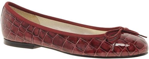 French Sole Henrietta Burgundy Croc Ballet Flats