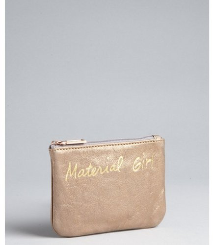 Rebecca Minkoff copper leather 'Material Girl' zip cosmetic pouch