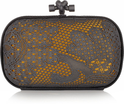 Bottega Veneta Lace-effect metal and karung knot clutch