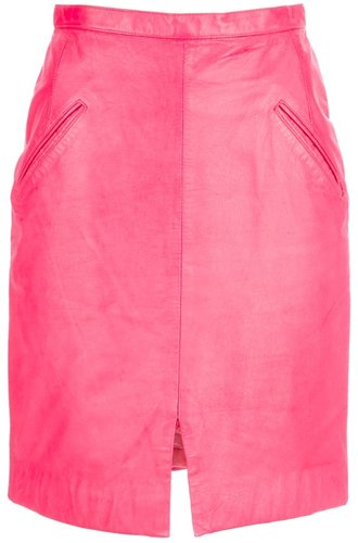 Stephen Sprouse Vintage Day glo leather pencil skirt
