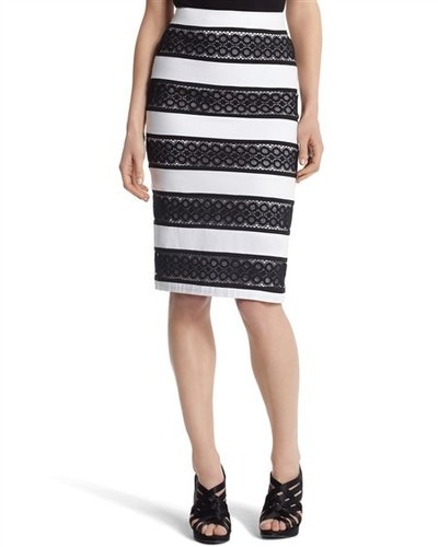 Geo-Lace Striped Pencil Skirt