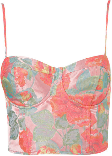 Neon Floral Jacquard Corset