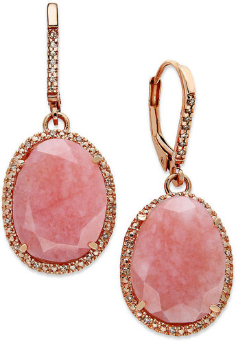 Macy's 14k Rose Gold Over Sterling Silver Earrings, Pink Opal (9-1/5 ct. t.w.) and Diamond (1/6 ct. t.w.) Earrings