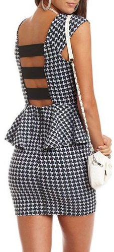 Houndstooth Peplum Pencil Dress