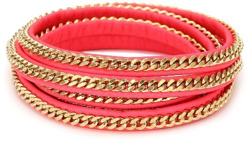 Vita Fede Capri 5 Wrap Neon Coral Bracelet