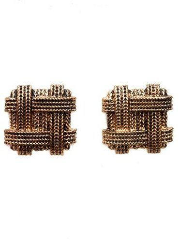 Golden Woven Stud Earrings