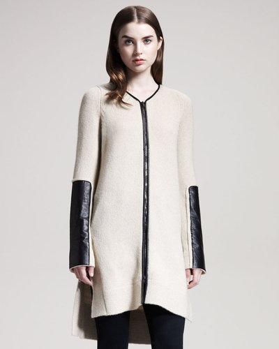 Reed Krakoff Long Leather-Trim Cardigan