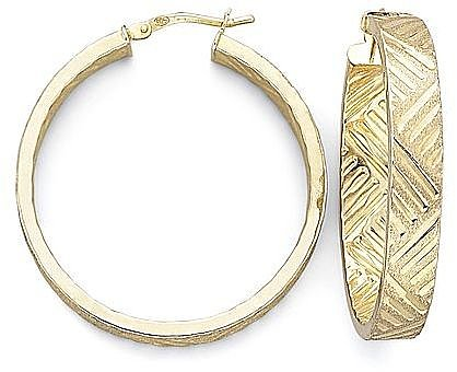 14K over Silver Basket Hoop Earrings