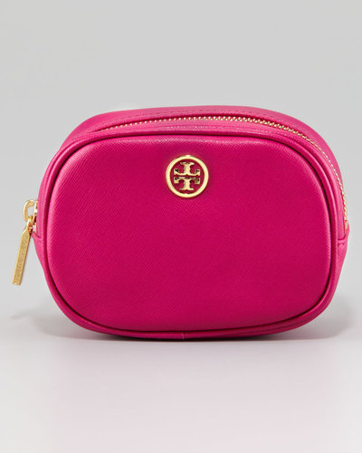 Tory Burch Robinson Small Saffiano Cosmetic Case, Magenta