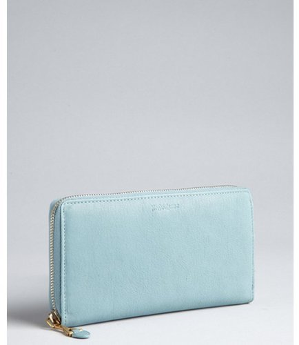 Yves Saint Laurent sky blue leather 'Chyc' zip continental wallet