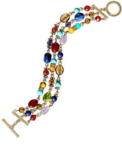 Lauren Ralph Lauren Bracelet, Gold Tone Multi-Color Bead Three-Row Toggle Bracelet