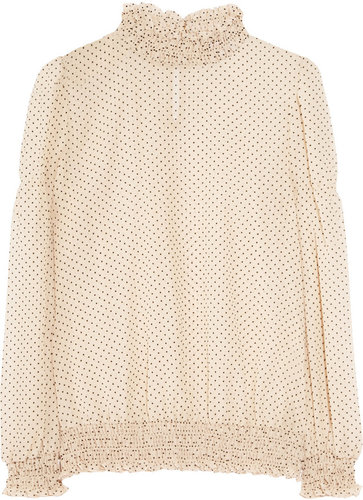 RED Valentino Polka-dot silk-blend chiffon blouse