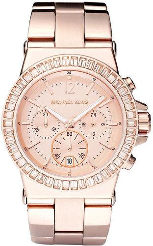 Michael Kors Watch, Women's Chronograph Dylan Rose Gold Tone Stainless Steel Bracelet 43mm MK5412