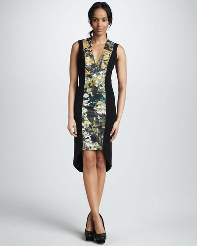 Black Halo Floral-Print High-Low Dress