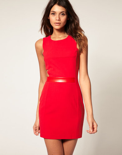 ASOS Mini Dress with Cut Out PU Trim